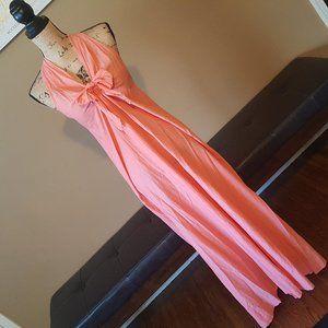 J Crew Orange Maxi Tie Bow Dress Small